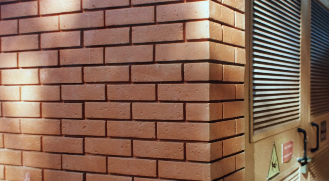 Technical room.,  BRICK look.,  Installation system: wall cladding without subframe (CWoS)