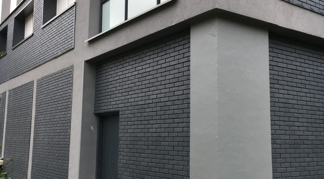 Location: Lisieux (France),  Architect: BET Alterea,  Installation system: wall cladding without backing structure (CWoB),  Product: GRAF 900