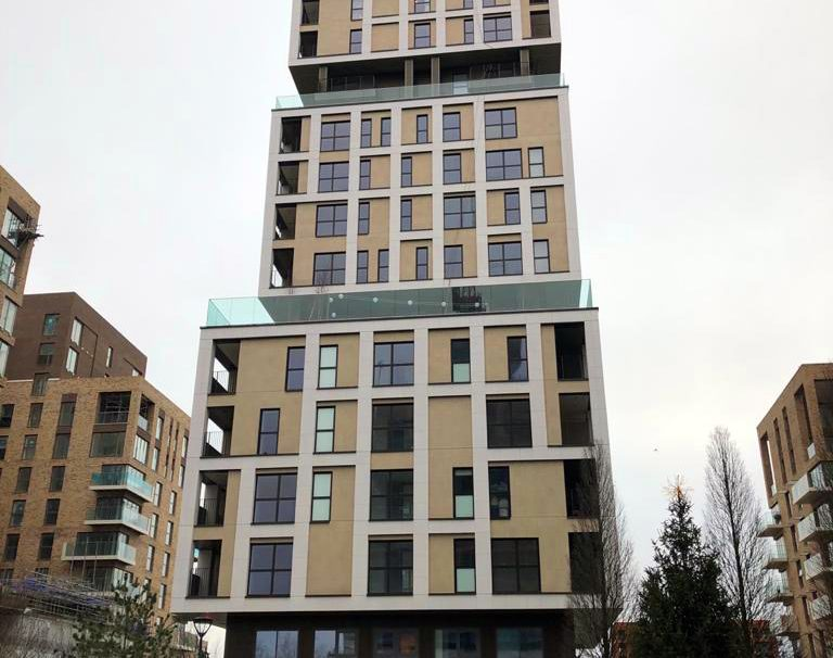 Location: Kidbrooke, London,  Construction type: new build,  Installation system: wall cladding without backing structure (CWoB) and with backing structure (CWoB),  Product: MATT and SMOOTH MATT