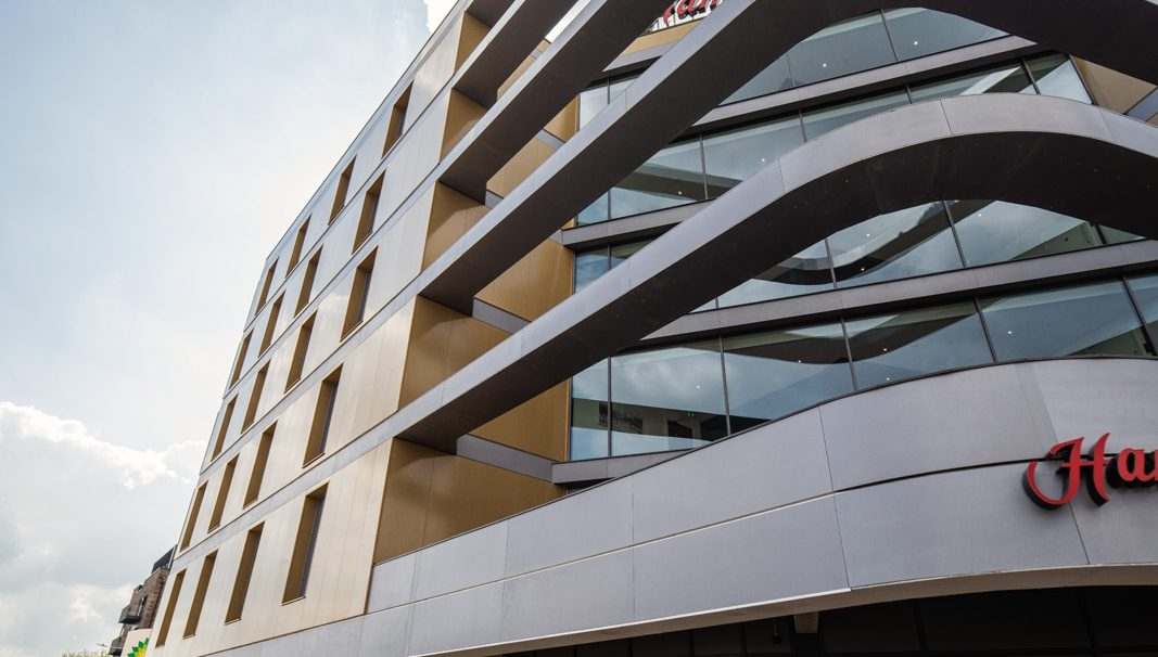 Victoria Point New Hotel, Ashford (UK) facade, cladding with backing structure (CWB), Bowman Riley London